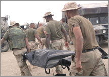 Marines in Iraq Carrying a Dead Soldier